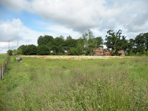 Long view of barn from SE across wildflower meadow