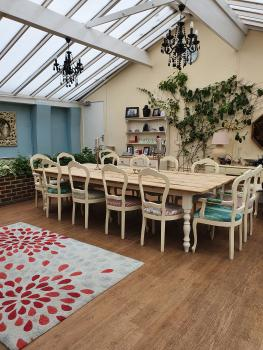 Our large conservatory can cater for up to 12 people for lunches and dinner parties.