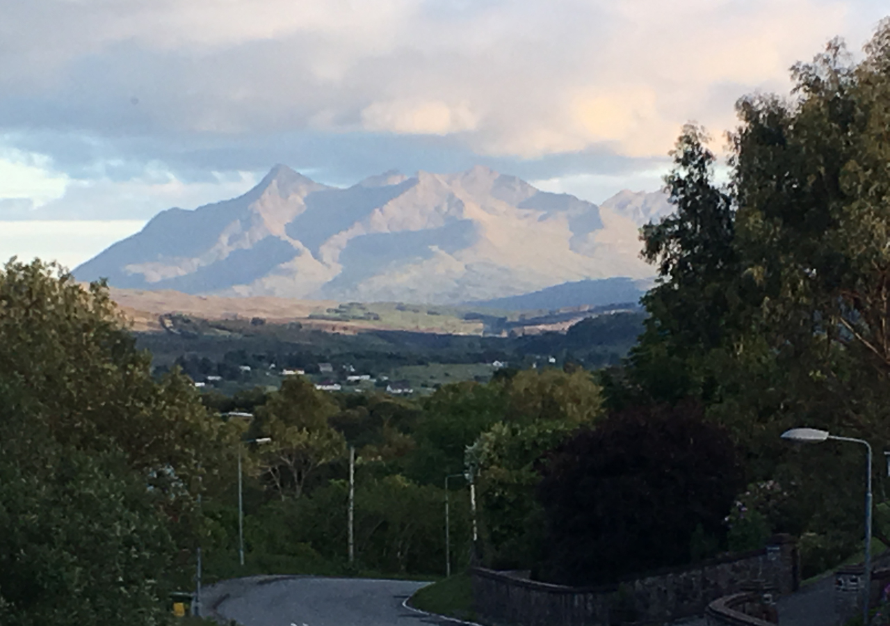 The view down the road towards the Cuillin Hills