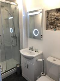 Newly refurbished ensuite with LED mirror with shaver socket