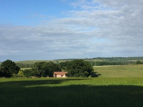 Barn from field opposite - early morning