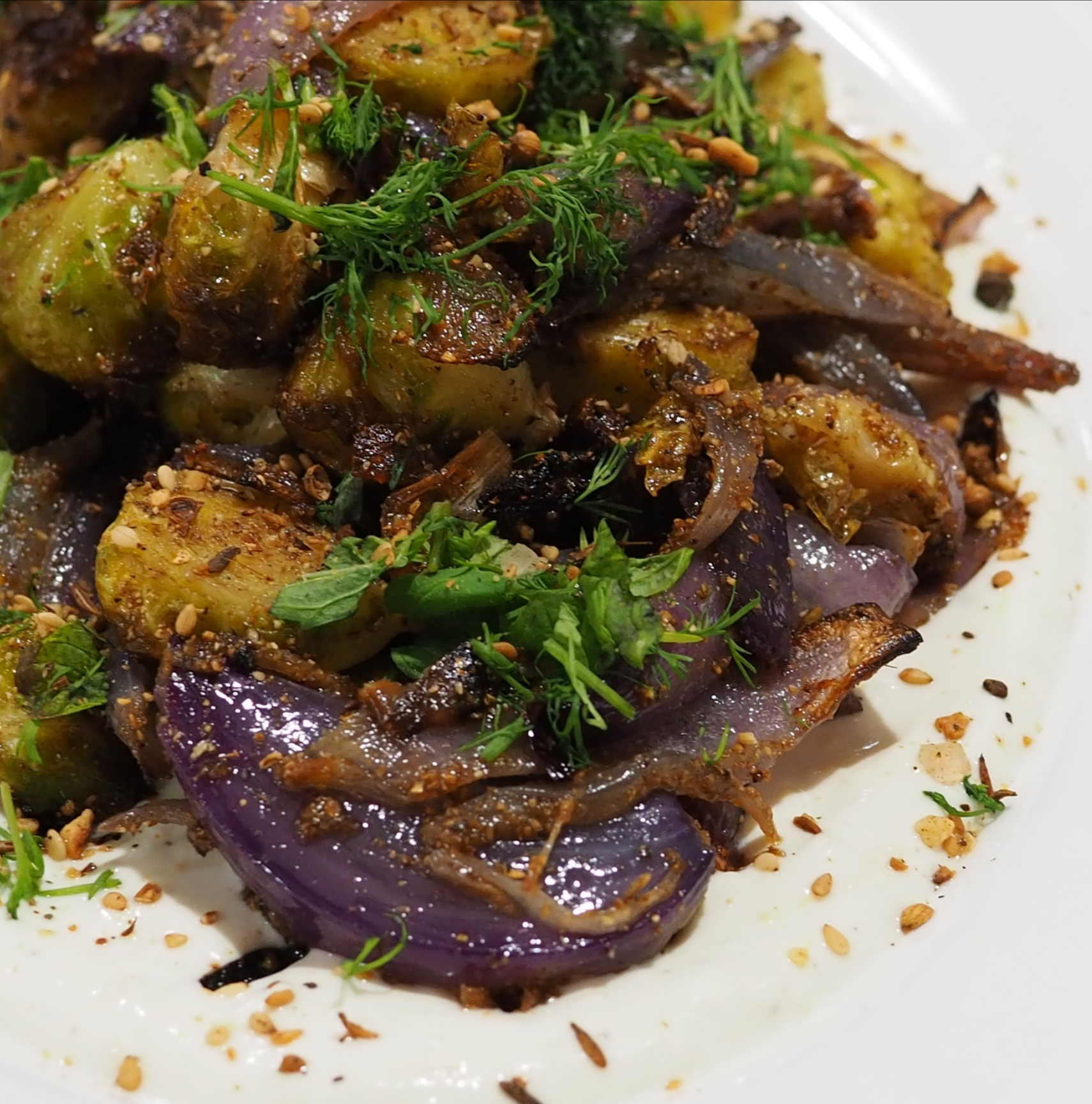 Roasted Brussels Sprouts with Tahini Yoghurt and Dukkah