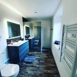 salle d'eau avec douche et wc ,linge de toilette fournis.