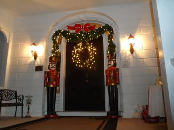 Front Door at Mayhurst with our two 6 ft nutcrackers guarding the door