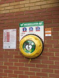 Defibrillator on the outside wall