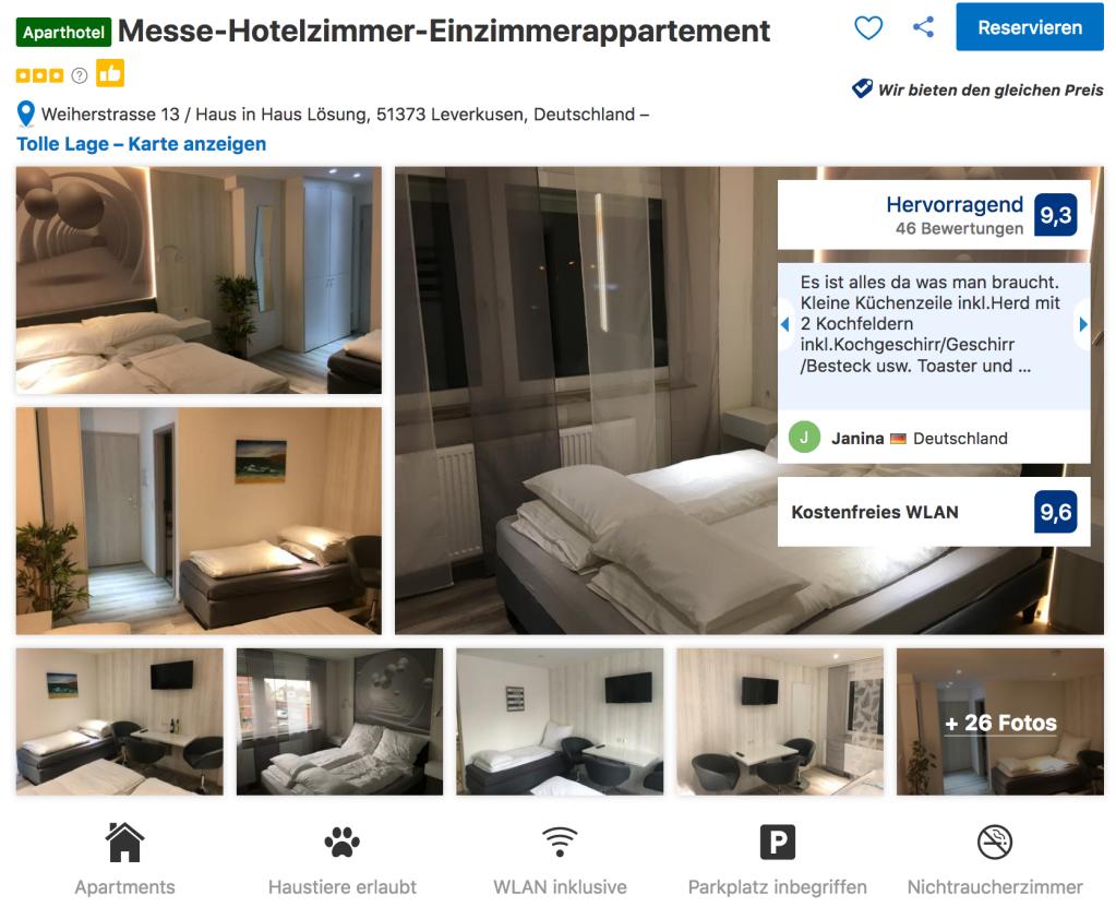 Messe Hotelzimmer Appartements Leverkusen Homepage