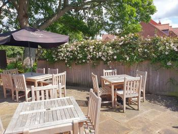 Our lovely and spacious beer garden