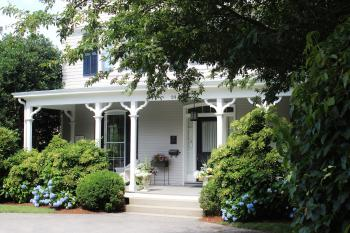 Front Porch of La Farge Perry House with Hydrangeas