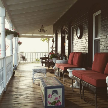 Wrap around porch seating