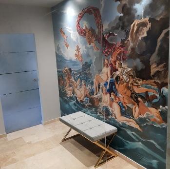 Fresque salle de bains Pompadour