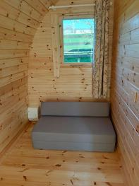 Mattress also makes a small sofa in Glamping Pod