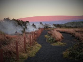 Mauna Loa at dawn from the steam vents in the Park.