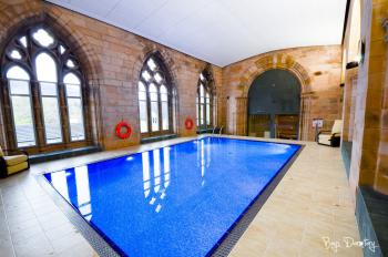 Gorgeous indoor pool in the former chapel