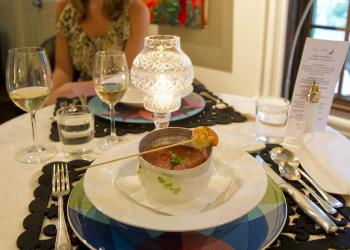 Dinner menu changes daily (perhaps icy gazpacho with grilled shrimp)