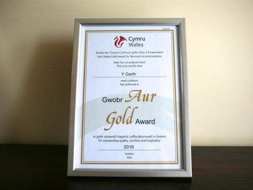 5* Gold Award by Visit Wales for 9th year in succession.
