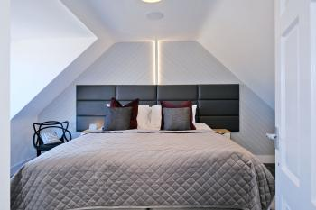 Super King bedroom, with colour selectable lighting