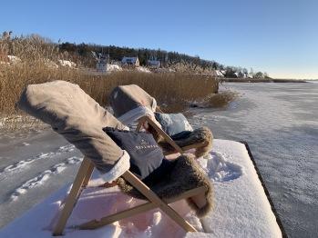 privater Badesteg - Winter-Lounge