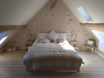 First floor guest bedroom (Belle Vue), en-suite with views over the surrounding Loire Valley fields...