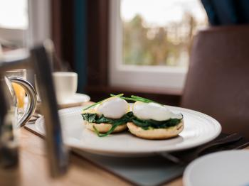 Eggs Florentine - Toasted Scottish Muffins, Wilted Spinach, with Poached Eggs and Hollandaise Sauce