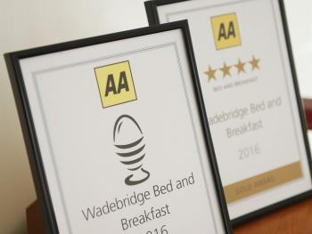 2016 AA Breakfast Award and AA 4 Star Gold Bed and Breakfast.