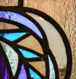 "Salle de Bain , vitrail original "" Van Huffel"""