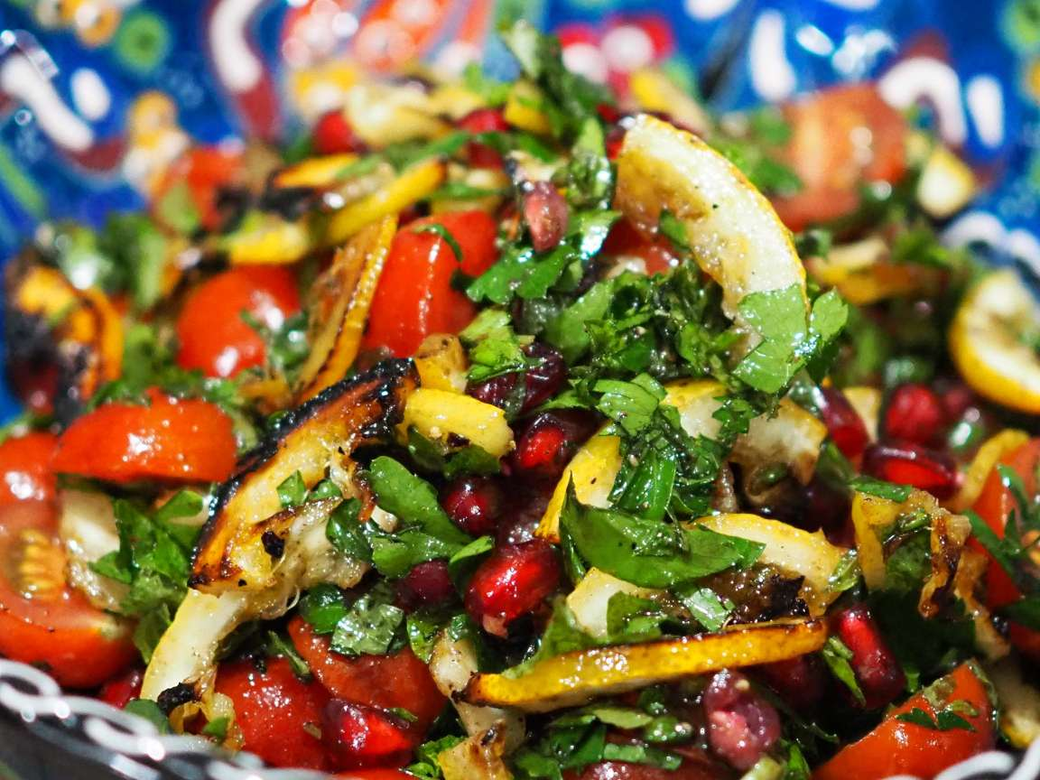 Roast Lemon, Tomato and Pomegranate Salad