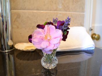 'No air miles' flowers adorn your room - the last of the sweetpeas and lavendar