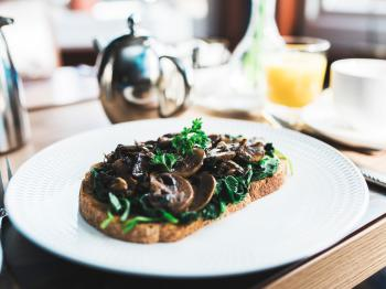 Mushrooms, spinach on Homemade Wholemeal Toast