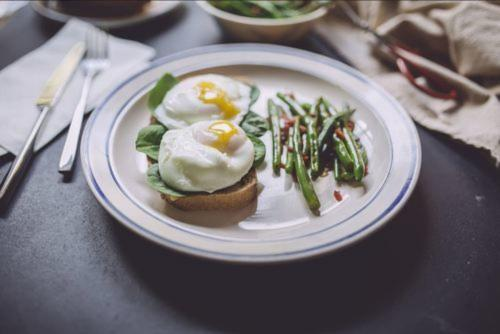 Poached Eggs & Spinach Toast, Green Beans & Warm Bacon Dressing
