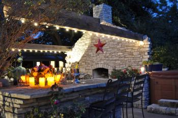 Outdoor stone patio at dusk