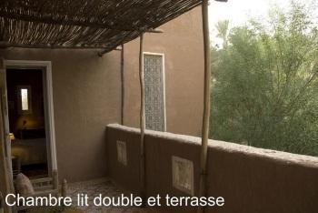 terrass de la chambre Hibiscus avec vue sur palmeraie