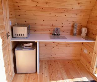 Glamping pod kitchenette