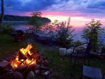 Down by the water a 2nd wood fire pit provides a great sunset view!