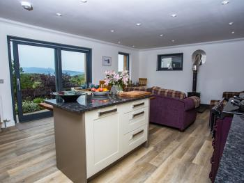 Kitchen and dining with a view