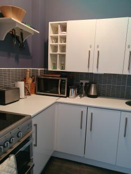 Lux Apartment. Self contained kitchenette with all amenities and utensils for long-term stay.
