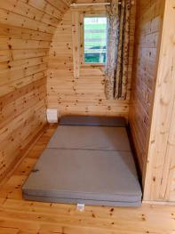 Small double mattress in Glamping Pod