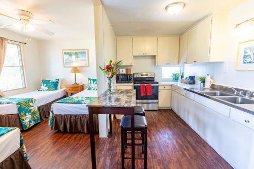 Studio with Three Twin Beds, Full Kitchen and AC