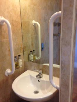 Shower room with low level sink and grab rails