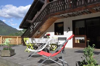 La terrasse avec vue sur le Mont Blanc