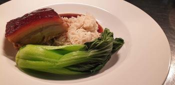 Asian pork belly, pak choy, coconut rice