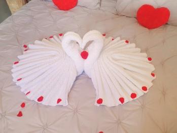 kit love cygnes fait sur le lit