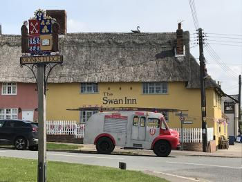 Side view of The Swan Inn & our 1957 Bedford Fire Engine