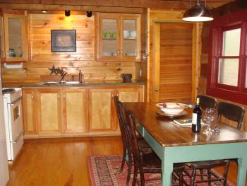 Homesteader;s Cabin Kitchen & antique farm table