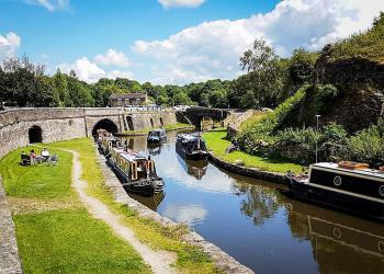 The old lime kilns are visible as you explore the nearby canal and basin