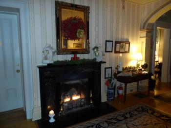 Main Parlor Fireplace at Christmas