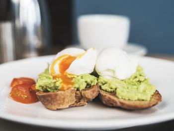 Toasted Homemade Wholemeal bread with Avocado and Poached Eggs