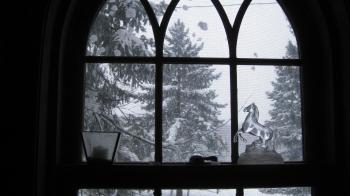 Snow fall out the Living room window