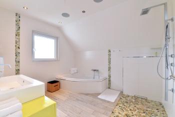 Salle de bain avec douche, baignoire et wc