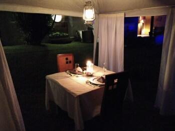 Cena romántica en el jardín