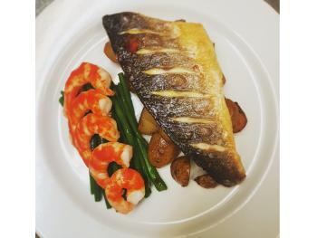 Seabass and King Prawns in a spicy Tomato Salsa